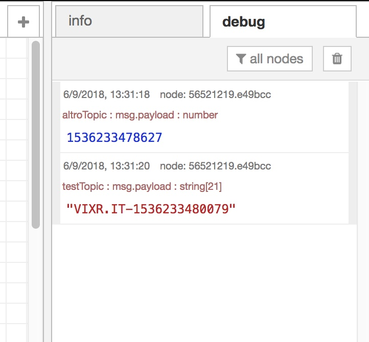 finstra di debug di node red